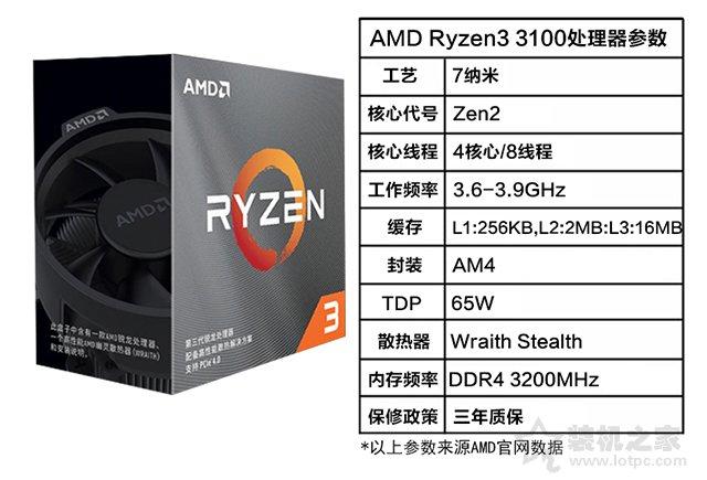 AMD 锐龙 R3-3100处理器